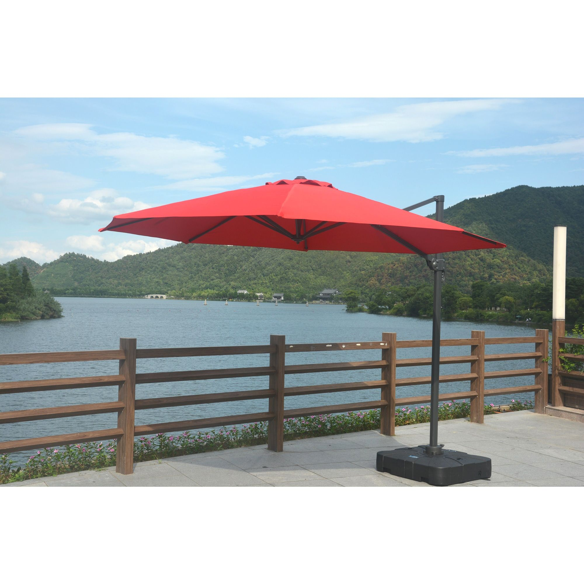 Genial Direct Wicker Offset Cantilever Patio Hanging Umbrella With Base And Crank