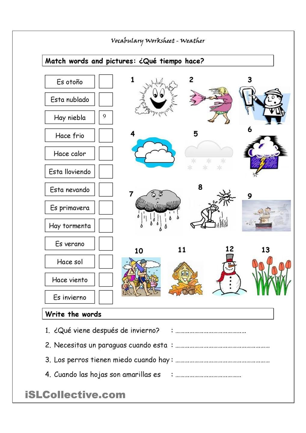 free spanish worksheet weather puzzle search words phrases que – Spanish Weather Worksheets