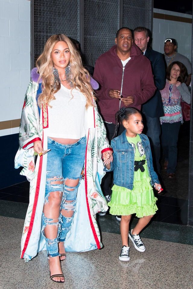 28bfcb3c896 Beyoncé, Jay Z, and Blue Ivy attend the 2017 NBA All-Star Game on February  19, 2017 in New Orleans, Louisiana.