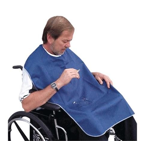 Smokers Bib: Smokers Bib is made of a soft denim Blue Kermel material with white trim cloth that is fire-retardant. Inherently flame-resistant, the cloth ensures a high level of protection against fire risks. It does not melt or form molten droplets. It is machine washable and color fast.