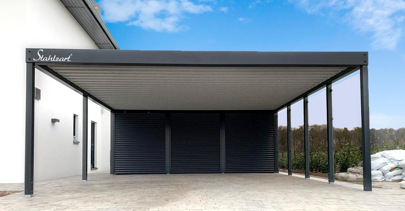 Doppel Carport Abstellraum Metall Anthrazit Leipzig Glas Stahlzart Carport Wellblech Stahlcarport