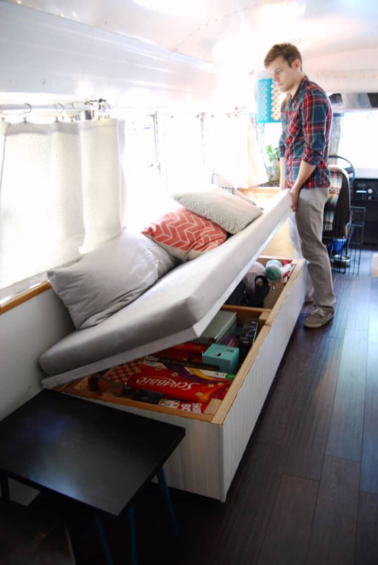 4 Genius Small Space Solutions to Steal from a Home in a School Bus