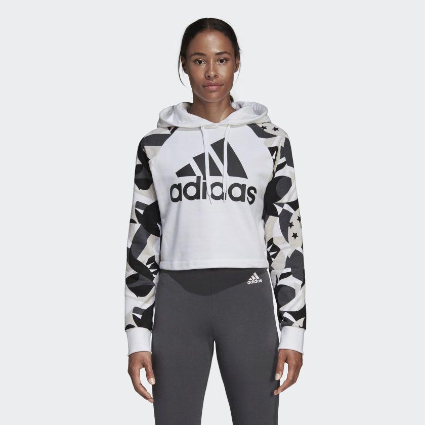 Sport ID Printed Crop Hoodie White Black DP2381 | Trendy