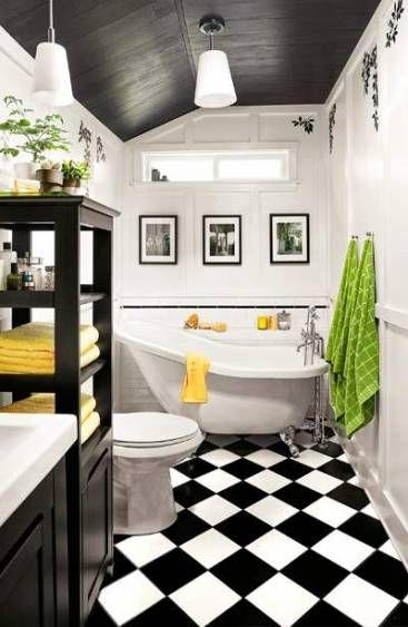 super wall decored bathroom small baths black and white
