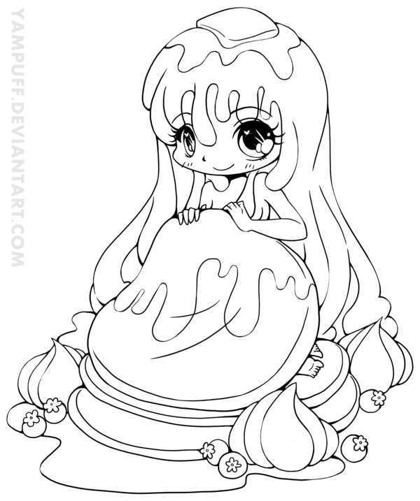 Pancake Girl Chibi Lineart by YamPuff.deviantart.com on