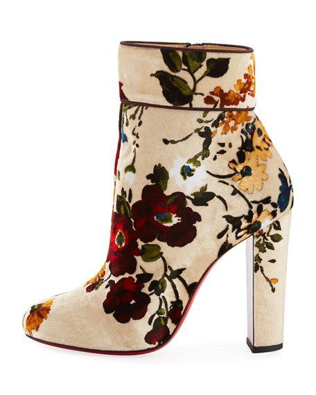 buy popular 21de5 96a75 CHRISTIAN LOUBOUTIN - Moulamax Floral Velvet 100mm Red Sole ...