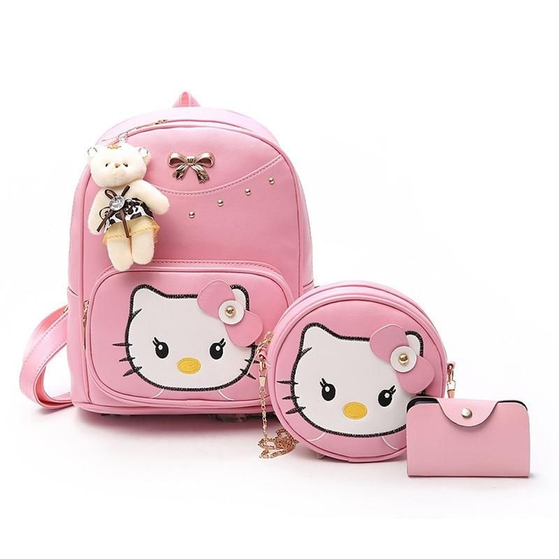 2d2c63c0c2b2 3pcs Set Hello Kitty Leather Backpack Lunch Bag Purse Set 3 Colors ...
