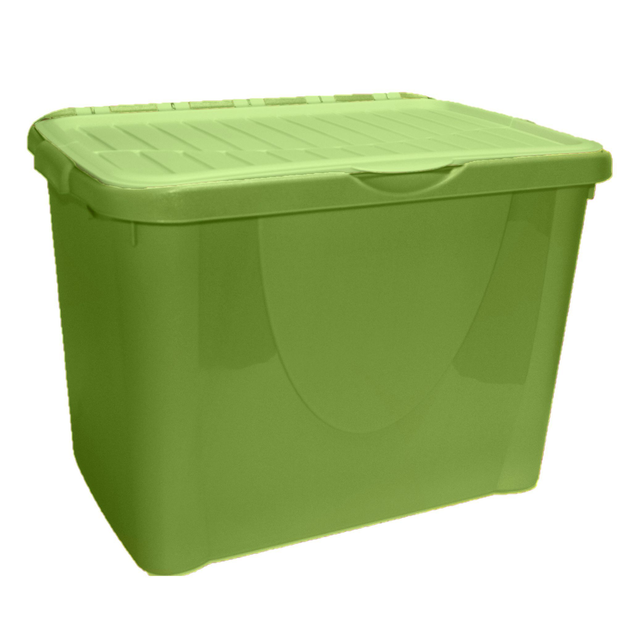 B Q Green 60l Plastic Storage Box With Images Stackable
