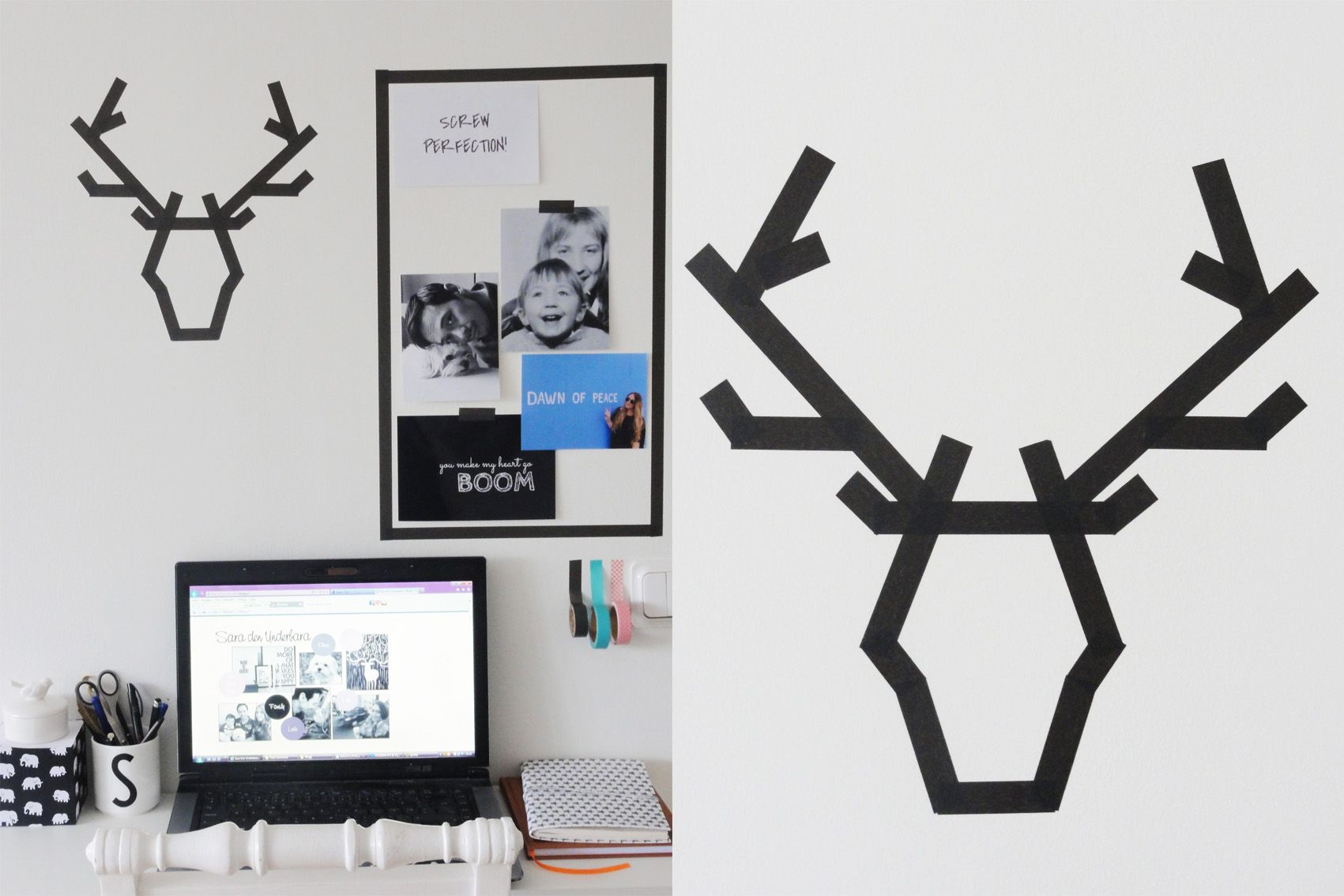 My small desk space - moodboard and deer made with washi tape