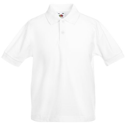 Fruit Of The Loom Childrens/Kids Unisex Pique Polo Shirt (White).  Guaranteed to perform at 60 degree wash. Ideal for school wear.