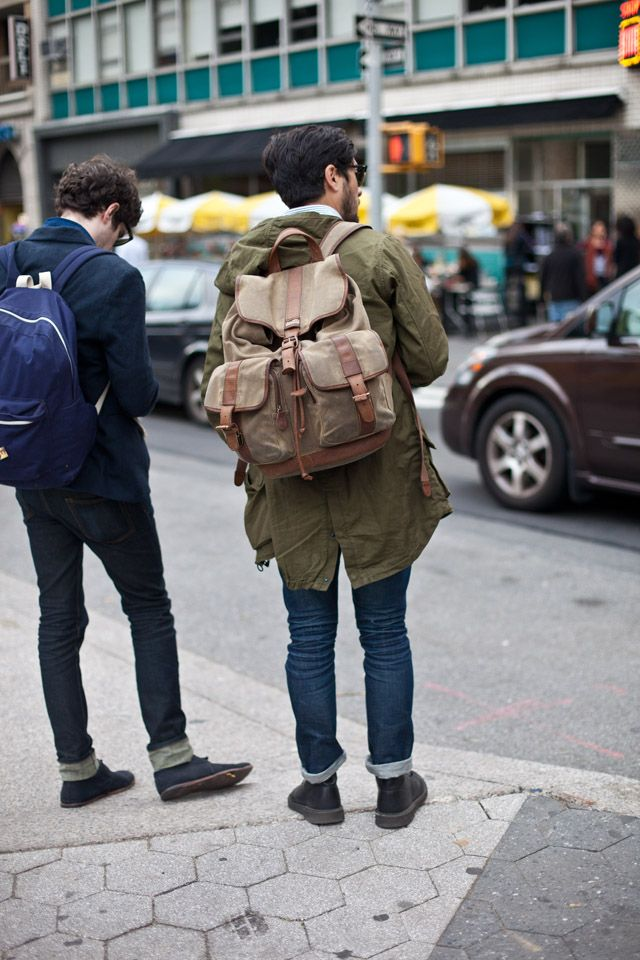 Do men also have baggage to carry?    (ON THE STREET | L.L. Bean Maine Guide Rucksack - Waxed Canvas)