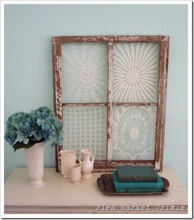 lace framed in old window panes