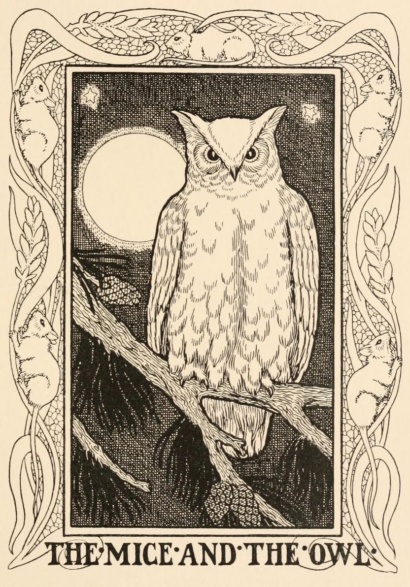 The Mice and The Owl. 1899. ( from fables , illustrated by La Fontaines Fables 1669 -1694) ~Percy J. Billinghurt.
