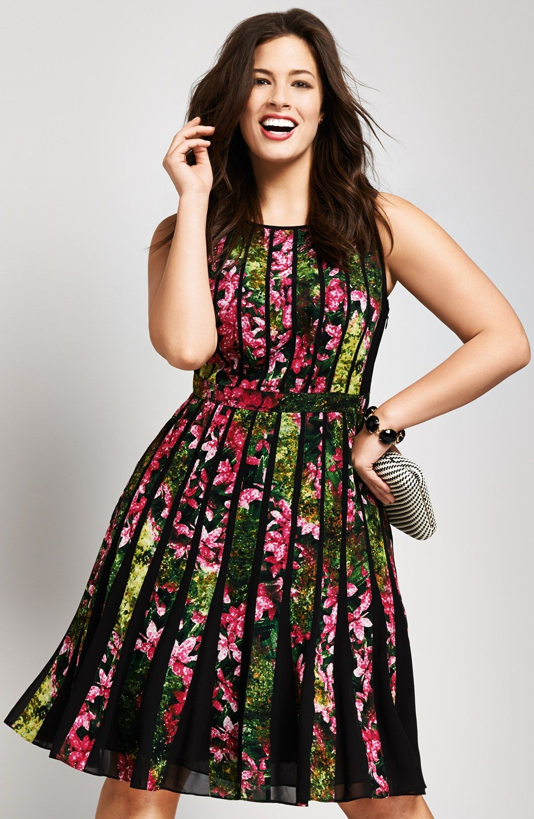 Adrianna Papell Floral Pleated Dress (Plus Size) | Nordstrom | My ...