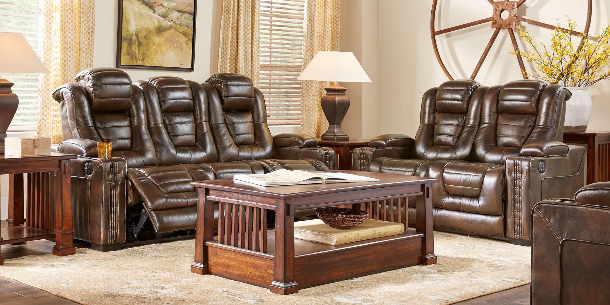 Eric Church Highway To Home Renegade Brown Leather 2 Pc Living Room With Dual Power Reclining Sofa Living Room Sets Furniture Swivel Chair Living Room Leather Living Room Set
