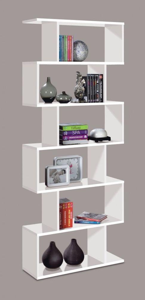 Ciara 6 Tier Bookcase Room Divider Display Shelf Unit White High Gloss