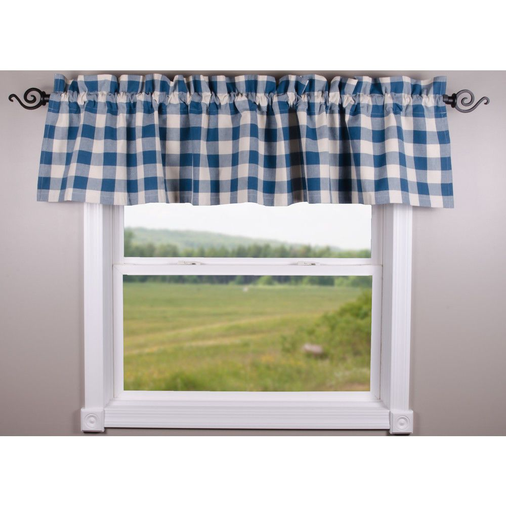 Country Colonial Blue Buffalo Check Lined Valance 72X15.5