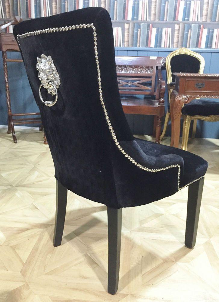 Knocker Lion Chair Black Velvet Sliver Button Luxury Contemporary