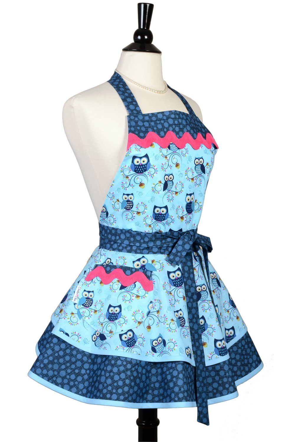 cute kitchen aprons showrooms womens ruffled retro happy hooters owls sexy pinup apron creative chics