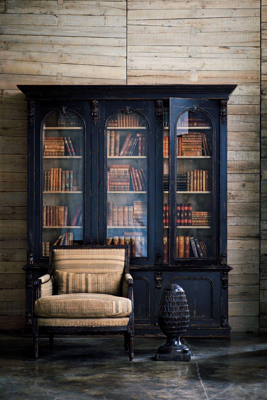RLH Walnut-Framed Louis XVI Chair & Victorian Bookcase # ...
