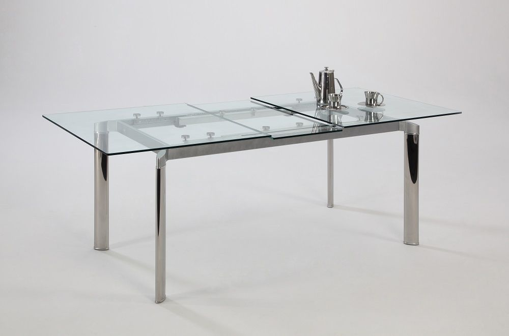 Chintaly Tara Pop Up Extension Clear Glass Dining Table Tara