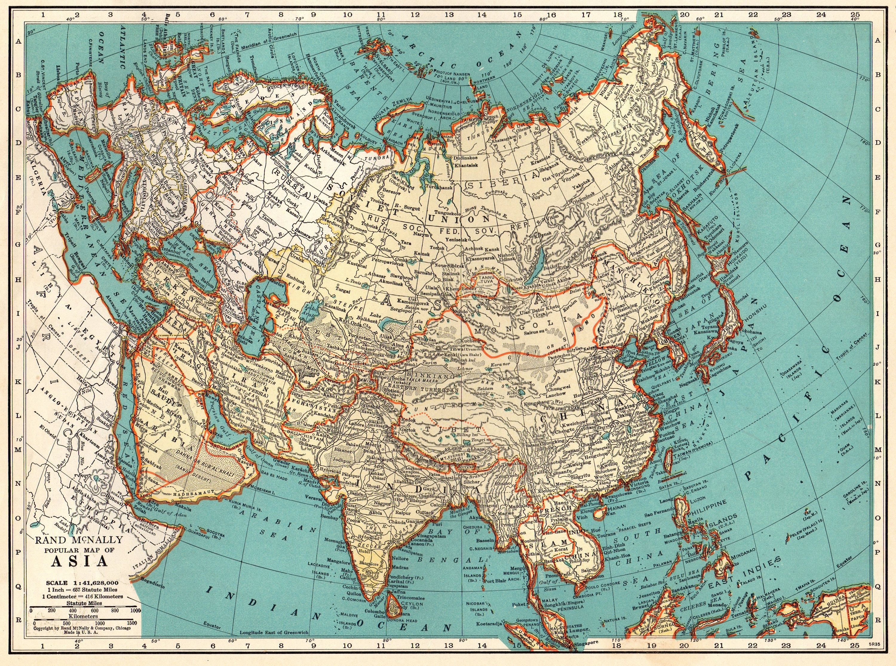1937 Antique Asia Map Vintage Map Of Asia Gallery Wall Art Gift