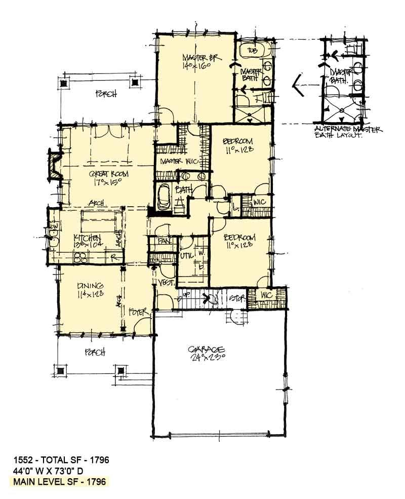 House Plan 1552 Narrow Cottage House Plans Luxury House Plans Cottage