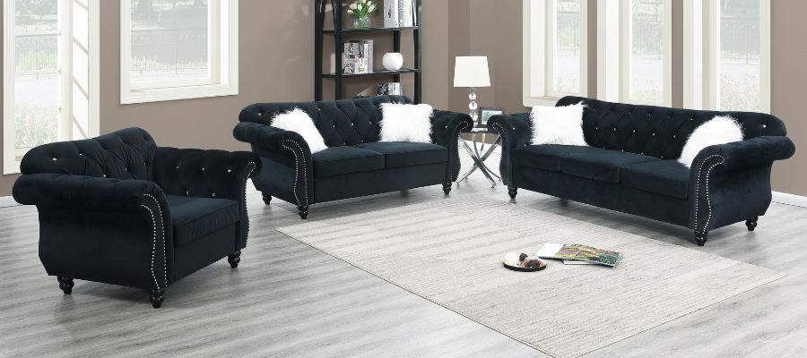 Poundex F6837 36 2 Pc Jolanda Ii Black Velvet Fabric Sofa And Love Seat Set With Tufted Backs In 2020 Love Seat Fabric Sofa Black Velvet Fabric