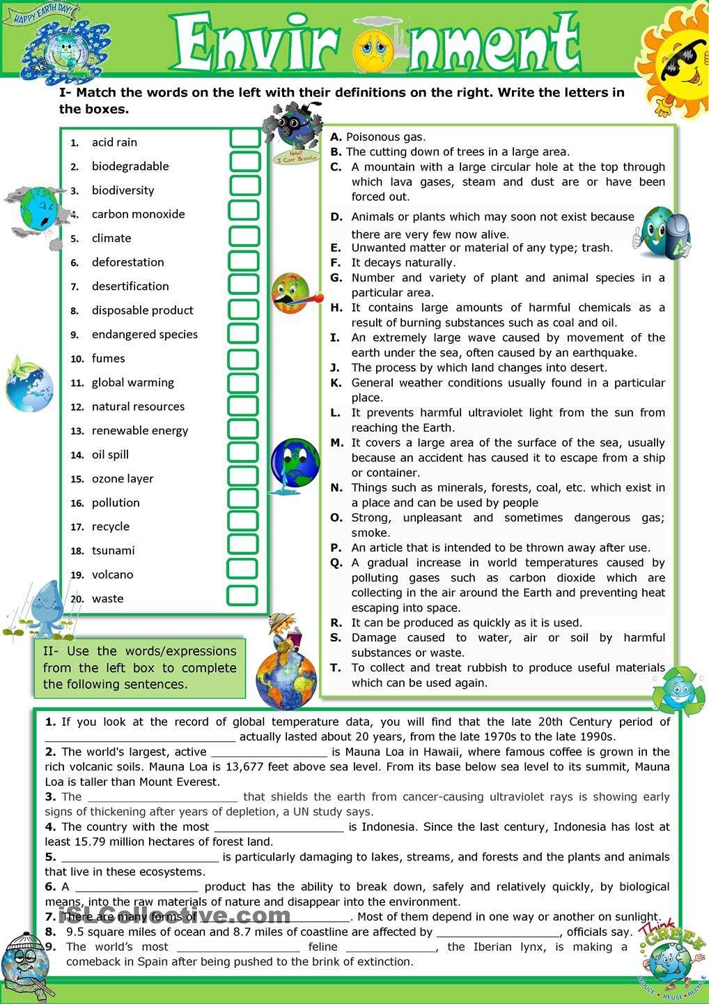 The Environment Vocabulary Practice Esl Worksheet Of The Day On
