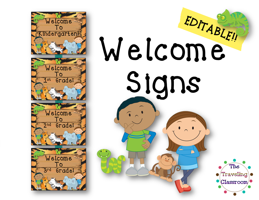 Free Editable Classroom Welcome Signs Jungle Zoo Safari Theme