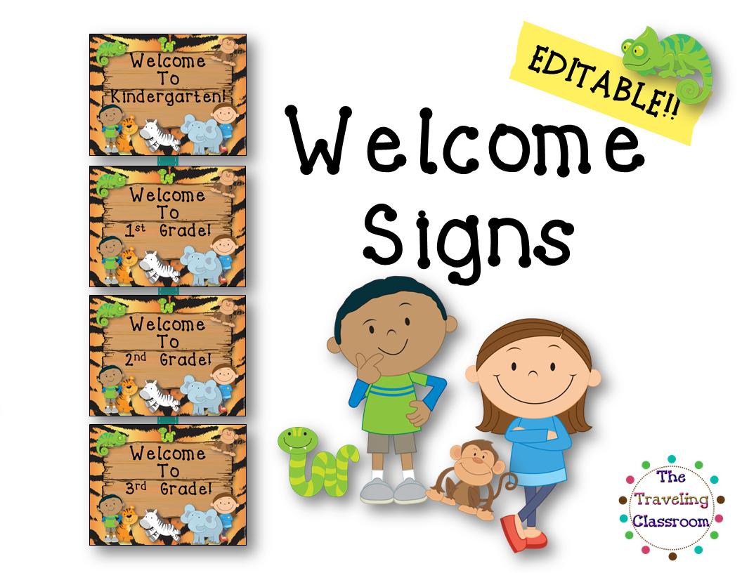 Free Editable Classroom Welcome Signs Jungle Zoo Safari Theme
