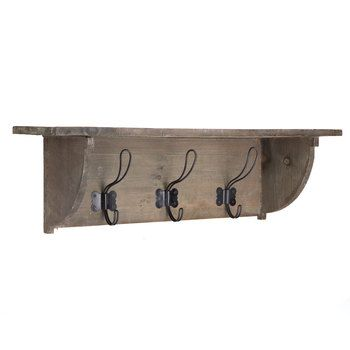 Natural Wood Shelf with 3-Double Hooks