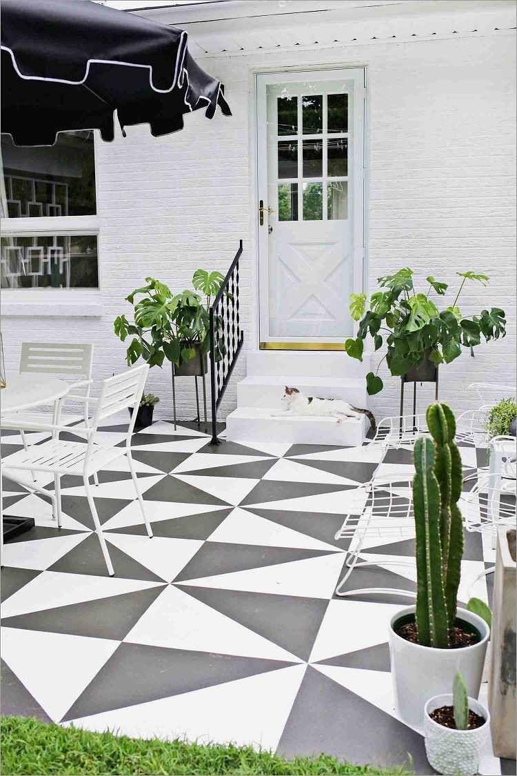 Carrelage De Sol Peint Noir Blanc Idee Design Exterieur Maison Sols Peints Carrelage Terrasse Carreaux Exterieurs