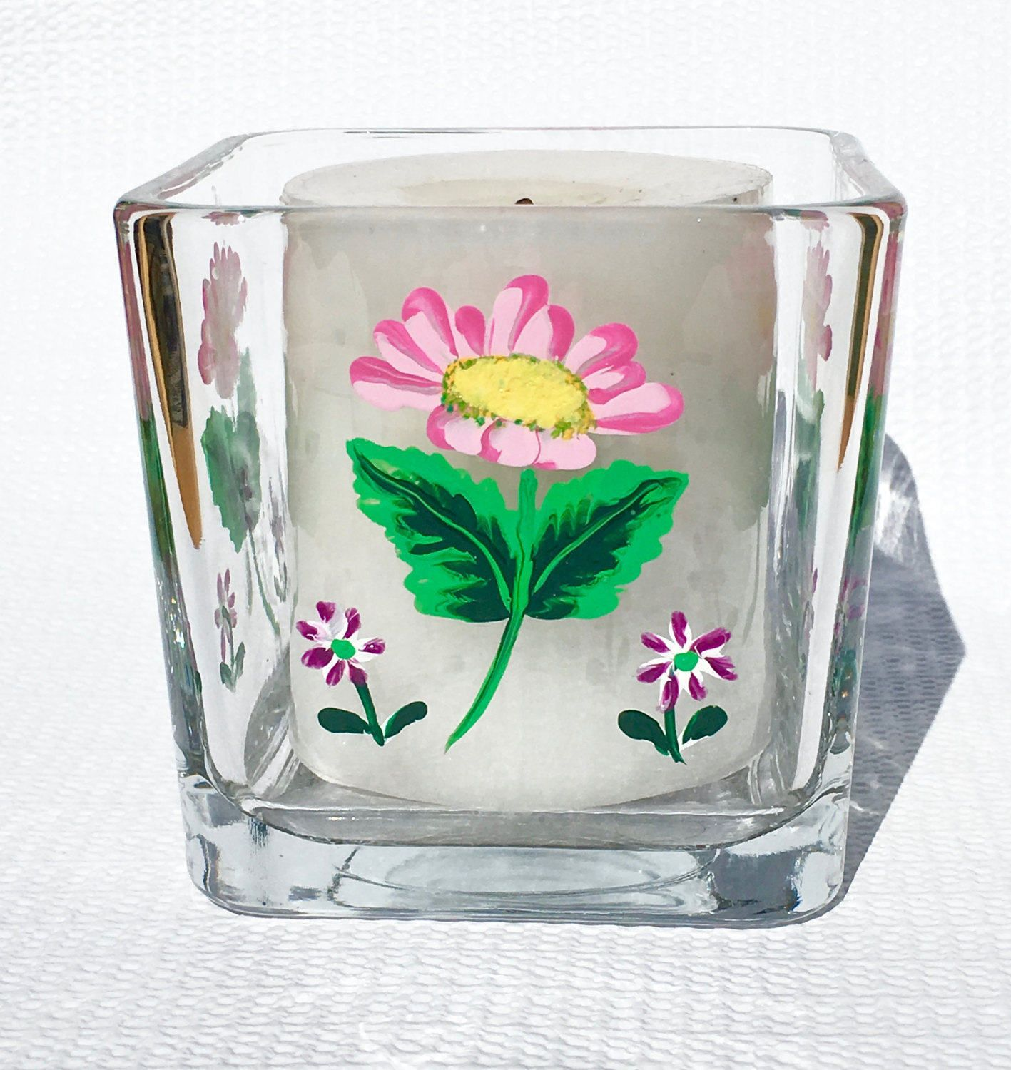 Candle holder with hand painted pink and purple flowers