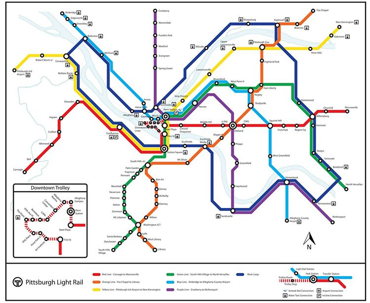 Pittsburgh Subway System Map