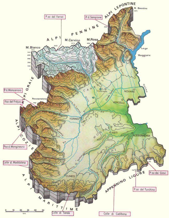Regione Piemonte Cartina Fisica.Cartina Fisica Del Piemonte Geografia Carte Geografiche Mappa