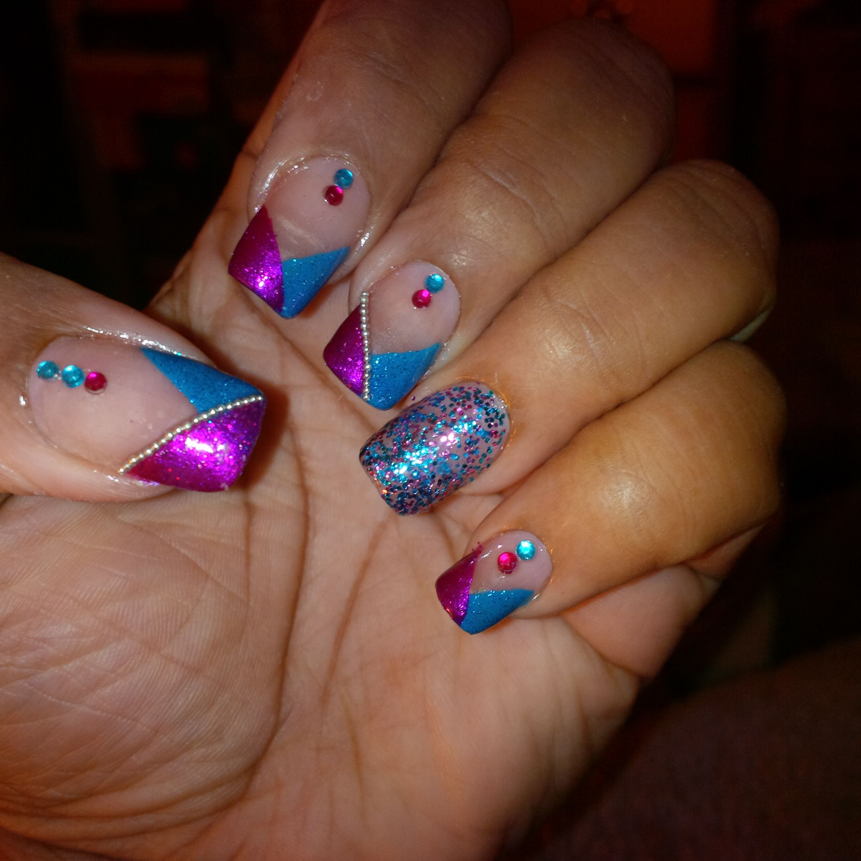 Turquoise & fuschia nail art | My nail art designs | Pinterest