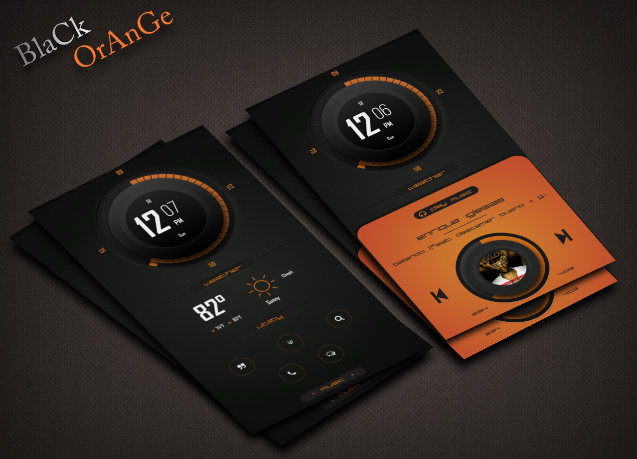 BlaCk / OrAnGe Android Homescreen by pitoko MyColorscreen