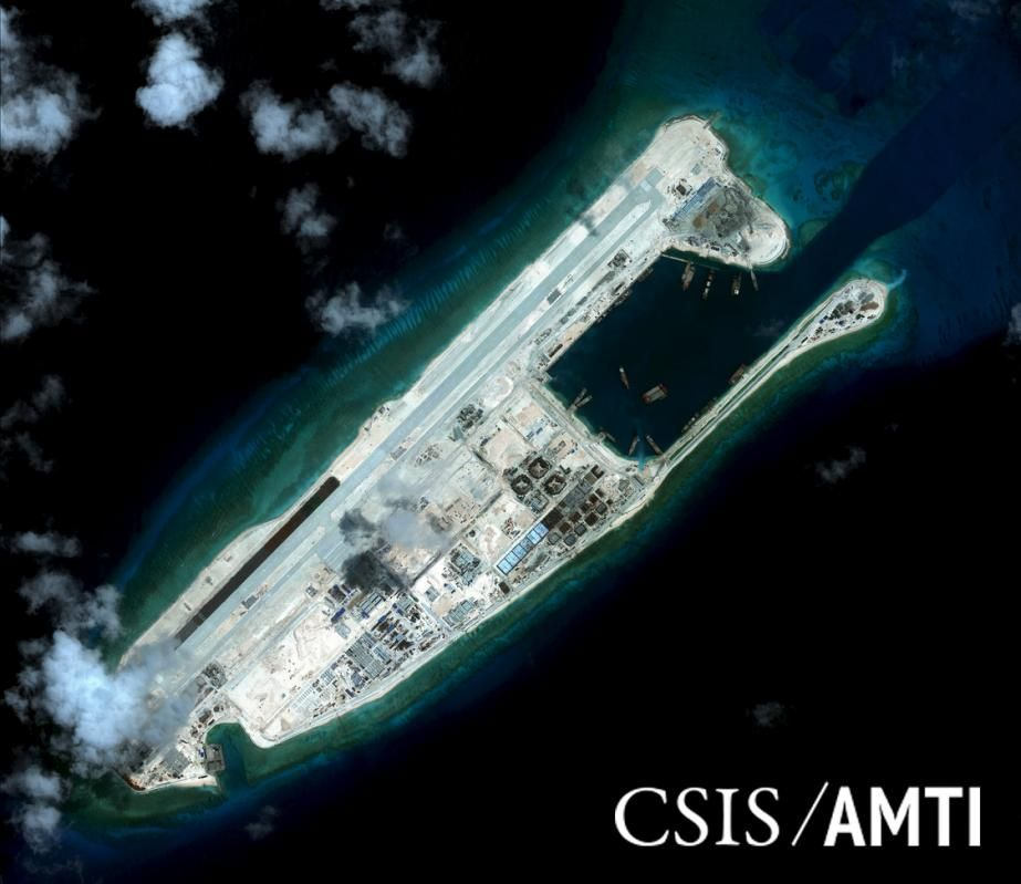 File photo of Fiery Cross reef, located in the disputed Spratly Islands in the South China Sea, shown in this handout CSIS Asia Maritime Transparency Initiative satellite image