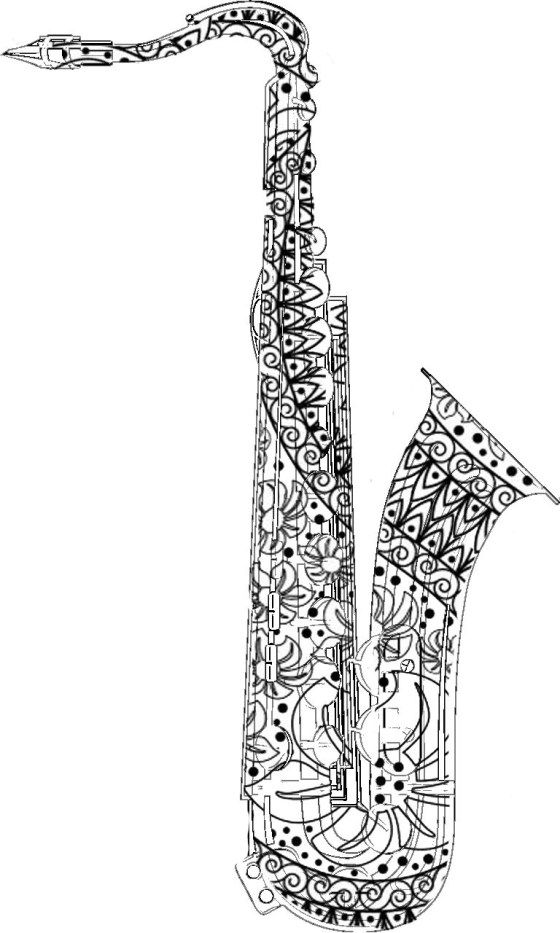 Adult Coloring Pages Saxophone Páginas Para Colorear