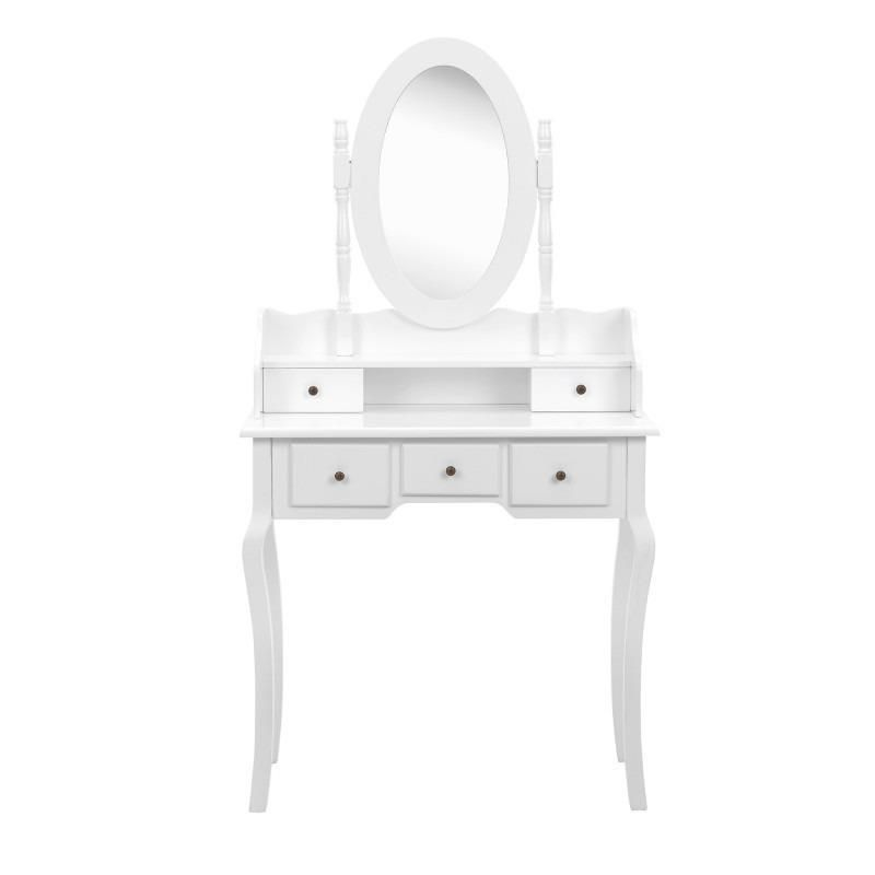 Details about White Dressing Table With Makeup Mirror Drawers Set