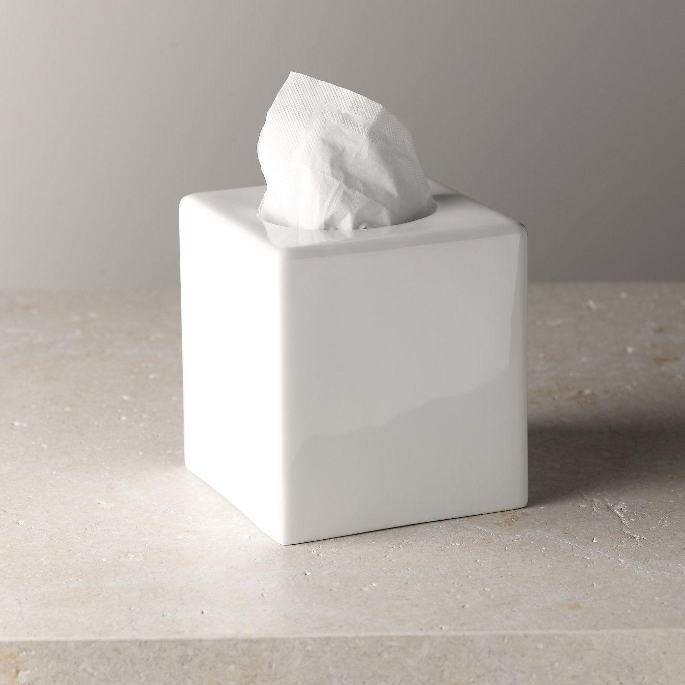 Ceramic Tissue Box Cover The White