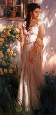 artist: Richard S. Johnson    love the light and shadows & colours  Their is something captured in this painting simplicity but she looks bemused about   something.