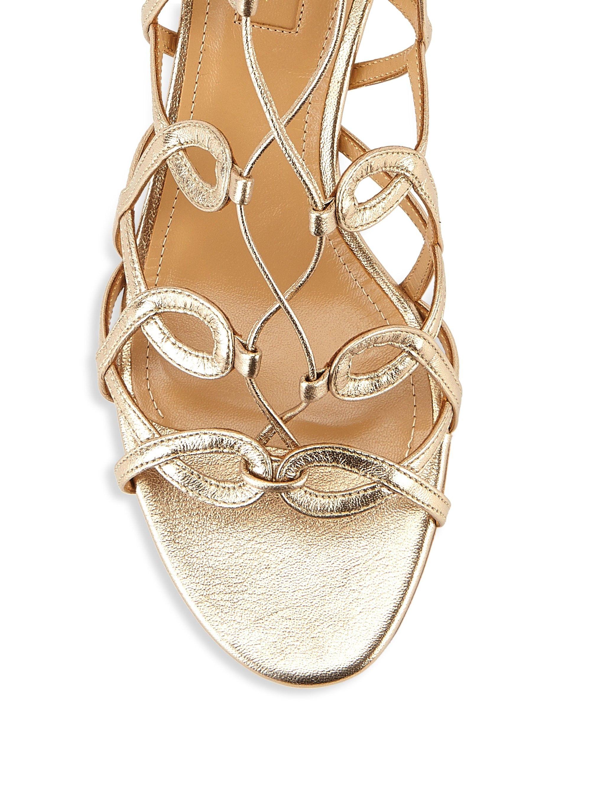 0f1840a44ed Aquazzura Mumbai Leather Gladiator Sandals - Light Copper 38.5 (8.5)