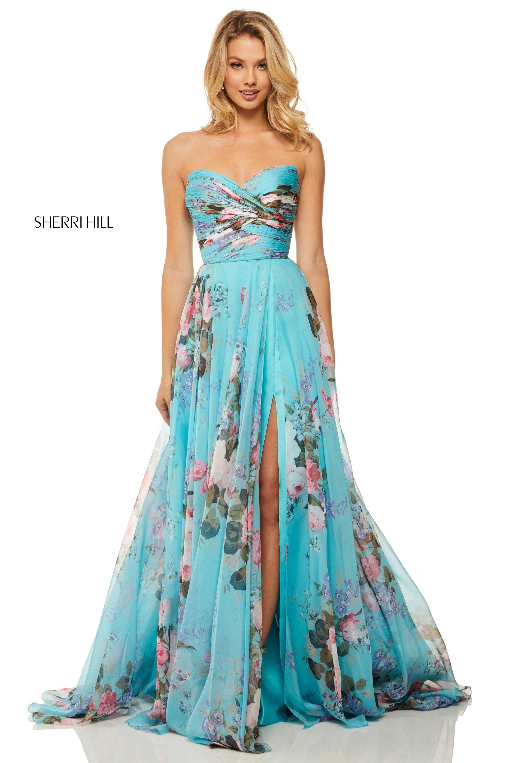92af616d8887 Sherri Hill 52872 Chiffon Floral Print Gown - Chiffon strapless floral printed  gown with a slit and ruched bodice - Prom Dresses
