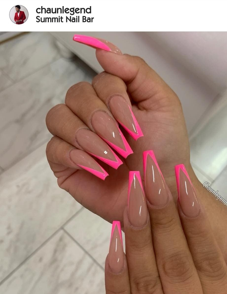 Beige Nails With Hot Pink Long Acrylic Nails Cute Acrylic Nails French Tip Nail Designs