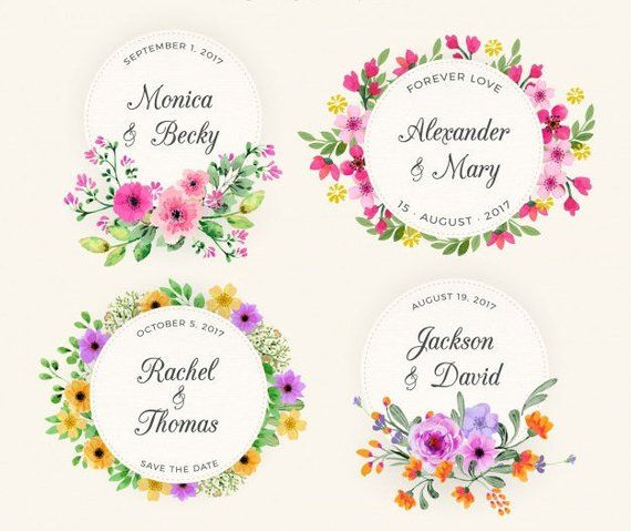 Watercolor Wedding Square Labels Fl Pink Yellow Initial