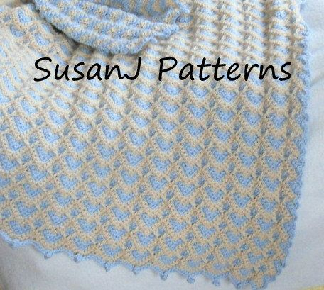 Baby Afghan Crochet Pattern - Chain of Hearts | Para bebes, Colchas ...