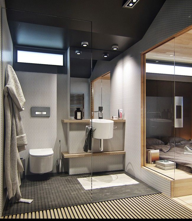 Small apartment with snug storage by denis svirid toilet is out of the way nice
