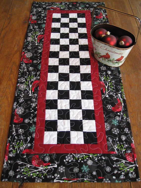 Patchwork Winter Cardinals Quilted Table Runner Table